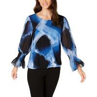 Alfani Womens Smocked Bubble Sleeves Officewear Blouse Top BHFO 8546