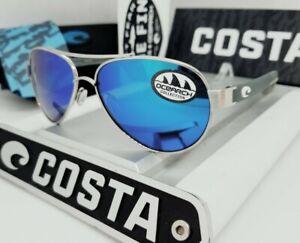 """580G COSTA DEL MAR silver/blue mirror LORETO """"OCEARCH"""" POLARIZED sunglasses NEW!"""