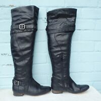 Faith Leather Boots Size Uk 5 Eur 38 Womens Ladies Sexy Pull on Otk Black Boots