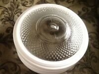 Vintage Large MCM White & Clear Glass Ceiling Light Shade Globe
