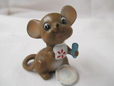 Vintage Josef Original Mouse Nibbles ready for dinner with plate spoon & bib