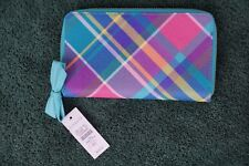TALBOTS NEW W/TAG $69.50 PRINTED SAFFIANO LEATHER ZIP AROUND WALLET