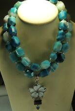 Statement 2 Strand Agate Necklace MOP Smoky Quartz Blue Topaz Mother of Bride