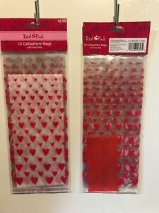CVS 15-Count Cellophane Bags with Twist Ties - Clear Bags w/Red Heart Valentines