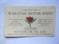 WARATAH MOTOR SPIRIT NEPTUNE OIL Co AUSTRALIA ADVERTISING CARD c1920s PETROL