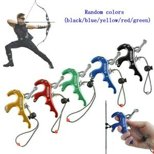Compound Bow Release Aids 4 Finger Grip Thumb Trigger Caliper Archery Hunting A8