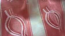 PAIR VINTAGE 1950s SATIN BROCADE CURTAINS PINK WHITE STRIPE VGC (3 PAIRS AVAIL)