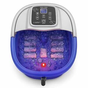 Foot Spa Massager Heat Bubbles Vibration 8 Rollers Digital Temperature Control