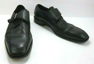 Aston Grey Astor Mens Monk Strap Dress Shoes Black Leather Apron Toe Size 12