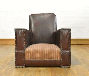 Antique vintage childs Art Deco tub armchair - miniature apprentice lounge chair
