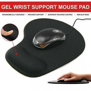 Black Mouse Mat Anti Slip Gaming Desk Pad Gel Wrist Support PC Laptop UK