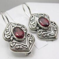"""925 Sterling Silver GARNET Designer Dangle Earrings 1.2"""""""