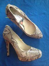 "Michael Kors Snakeskin Shoes 5"" Heel Pumps Womens 10 Grey 1"" Platform New Snake"