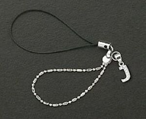 Dangle Letter J Crystal Cell Phone Charm 925 Sterling Silver For Mobile Phone