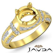 Pave Channel Set Diamond Engagement Ring 14k Yellow Gold Round Semi Mount 0.25Ct