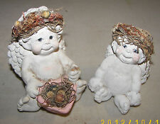 Dreamsicles Wildflower Angel/Cherub Pair 1994 Cast Art Industries