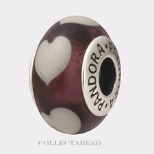 Authentic Pandora Sterling Silver Murano Violet Love Grey Hearts Bead 790659
