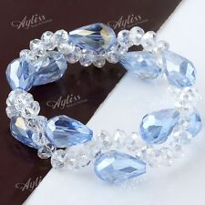 1pc Light Blue Crystal Glass Drop Bead Bracelet Bangle