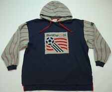 Rare VTG ADIDAS World Cup USA 1994 Spell Out Soccer Hoodie Sweatshirt 90s Navy L