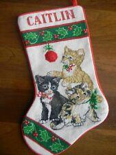Handmade JCA Needle Treasures Needlepoint Christmas Kittens Stocking CAITLIN New