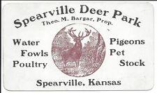 c1900 Trade Card. Spearville Deer Park, Water Fowl, Pigeons, etc., Spearville KS