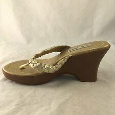 Steve Madden Barlee Gold Braided Wedge Sandal - Women's Size 6.5 - Good