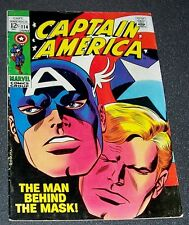 "114-FN/VF CAPTAIN AMERICA ""The Man Behind The Mask!"" Stan Lee & J Romita 1969"