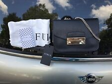 NWT$328 FURLA JULIA SAFFIANO LEATHER MINI CROSSBODY BAG Black/Gold