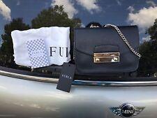 NWT$328 FURLA JULIA SAFFIANO LEATHER MINI CROSSBODY BAG Black/Gold