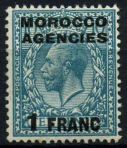 Morocco Agencies 1917-24 SG#199, 1f On 10d Turquoise-Blue KGV MH #D47497