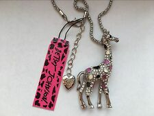 Betsey Johnson Cute fashion inlay Crystal Giraffe Pendant Necklace #F