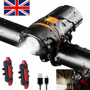 1200lm USB Rechargeable Bicycle Super Bright Bike Lights Set Light Waterproof UK