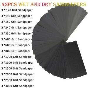 42X Sandpaper Sheets Discs Mouse Assorted Wet and Dry Waterproof 120-3000 Grit
