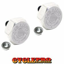 2 Silver Hex Billet License Plate Frame Tag Bolts Harley - 45 AUTO BULLET NIC