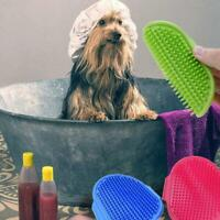 Hair Fur Grooming Massaging Massage Mit Pet Dog Cat Brush Rubber Comb Glove U6T9
