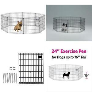 "Portable Folding Exercise Pet Playpen Dog Fences Puppy Gate 8 Panels Each 24x24"""