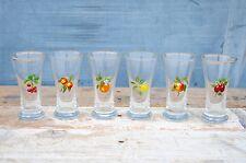6 Vintage Retro 1970s Glass Fruit Shot Liqueur Whisky Glasses Gold Rims