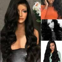 Women Full Wig Brazilian Body Simulation Hair Wave Silk Black Human Hair Wigs