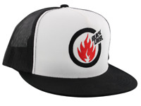 Black Label Skateboards Thrash Flame Mesh Trucker White / Black / Red Hat