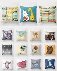 Cushion Pillow Cover Animal Vintage Camera Cat Owl Astronaut 18'*18' Home Decor