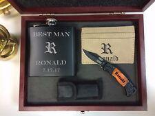 6 Personalized Gift Set Flask, Pocket Knife, Money Clip, Groomsmen, Corporate