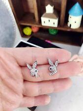 little bunny rabbit stud earrings white gold plated