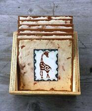 Set of Six Wood Coasters with African Animal Prints