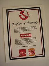 """Ghostbusters - Ghost in a Can Certificate of Ownership  8.5"""" x 11"""" - B2G1F"""