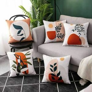 Short Plush Throw Pillow Case Mid Century Geometry Abstract Cushion Covers