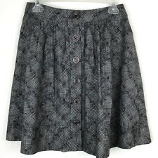 Anthropologie Fei Skirt 2 Gray Geometric Pleated Pocket A line S Button