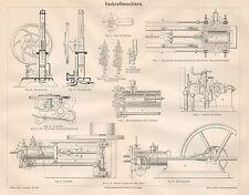 B6435 Motori a combustione di Gas - Incisione antica 1890 - Engraving
