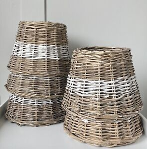 Wicker Rattan  Lampshade Nordic Nautical Shabby Coastal Rustic lamp shade 20 cm