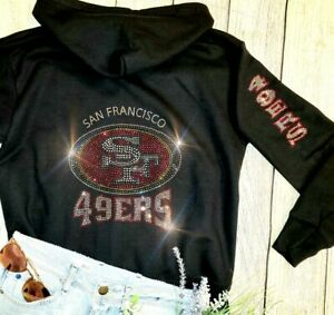 New Women's Rhinestone San Francisco 49ers Zip Up Jacket Hoodie sz XL all szs