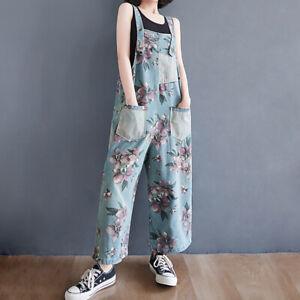 Lady Denim Floral Overalls Suspender Wide-leg Jeans Summer Jumpsuit Rompers Thin